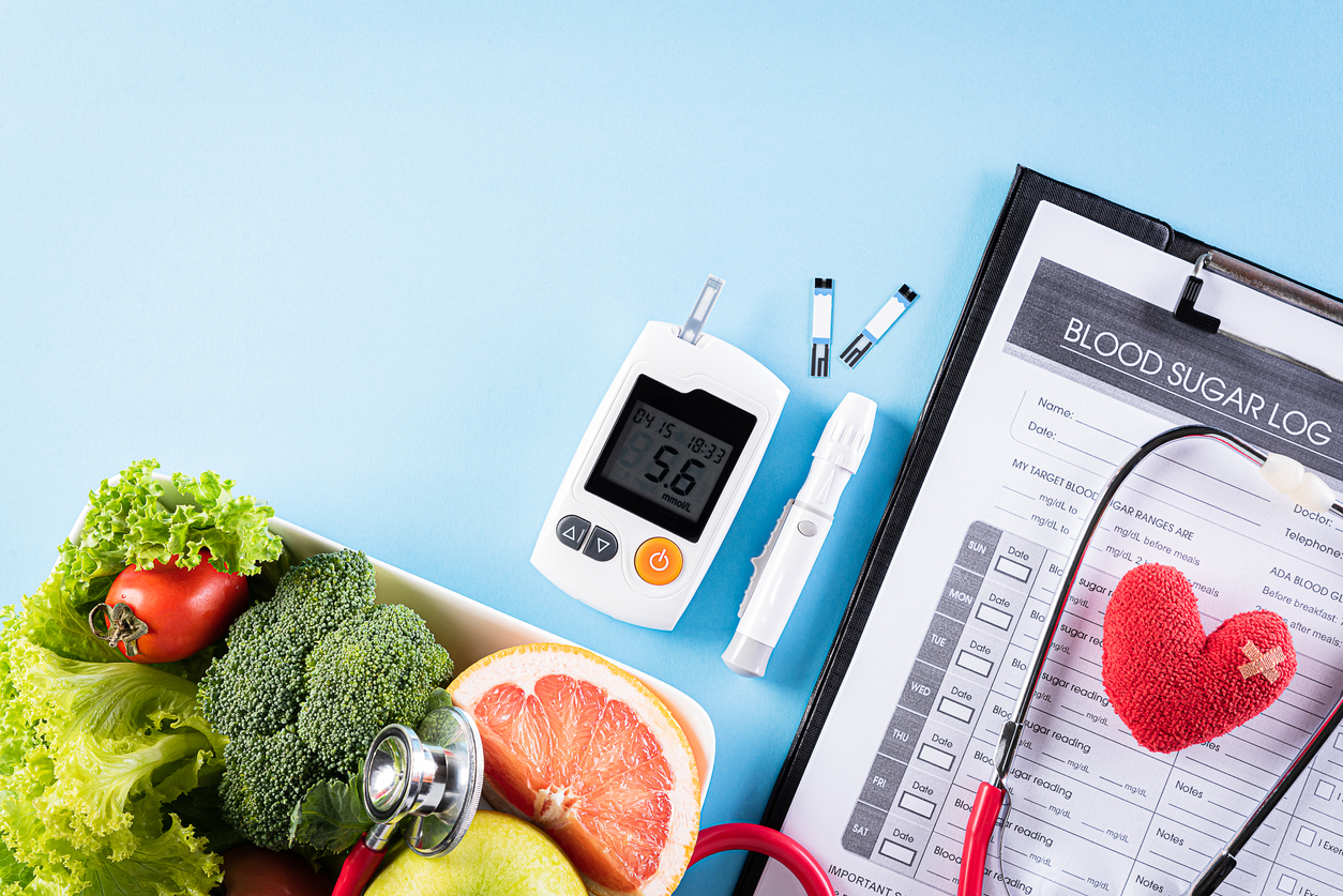 Table with personal diabetes supplies